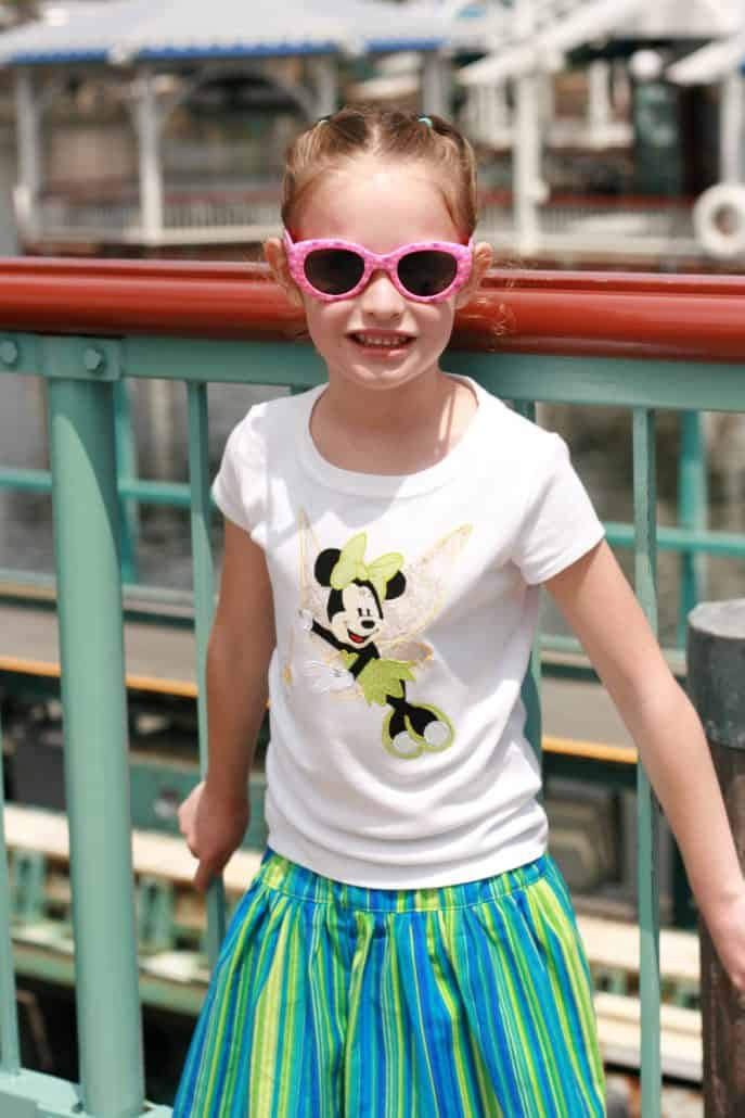 Girl wearing sunglasses at Disneyland