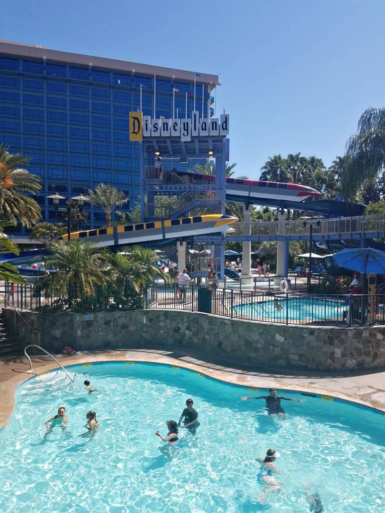 Disneyland swimming pool and monorail slides