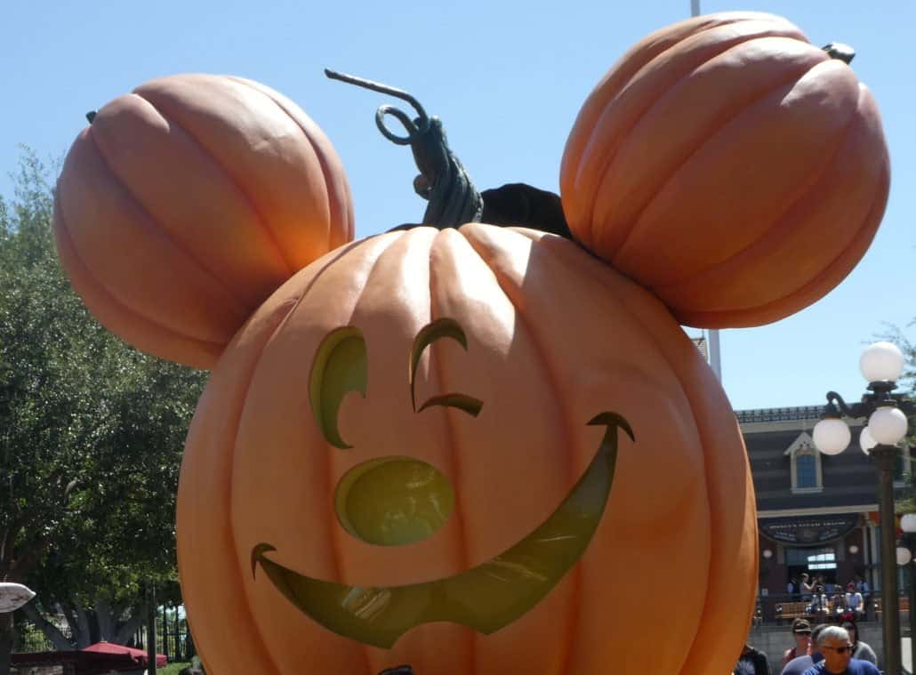 Halloween Time at Disneyland Mickey pumpkin on Main Street