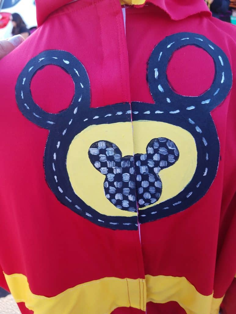 Back of a handmade Mickey and the Roadster Racers Halloween costume