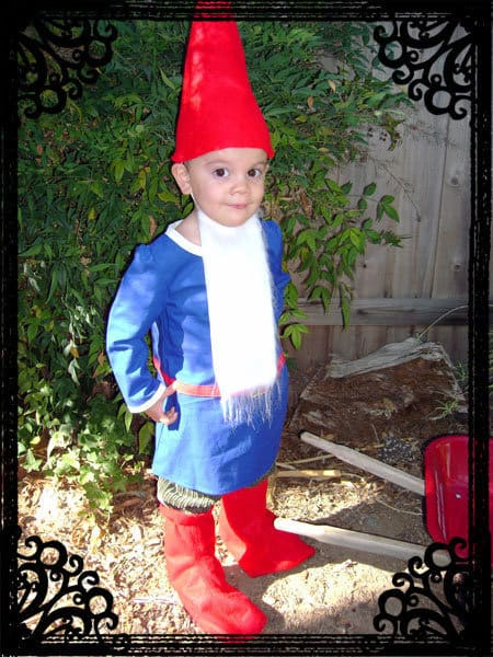 Handmade garden gnome costume with little boy