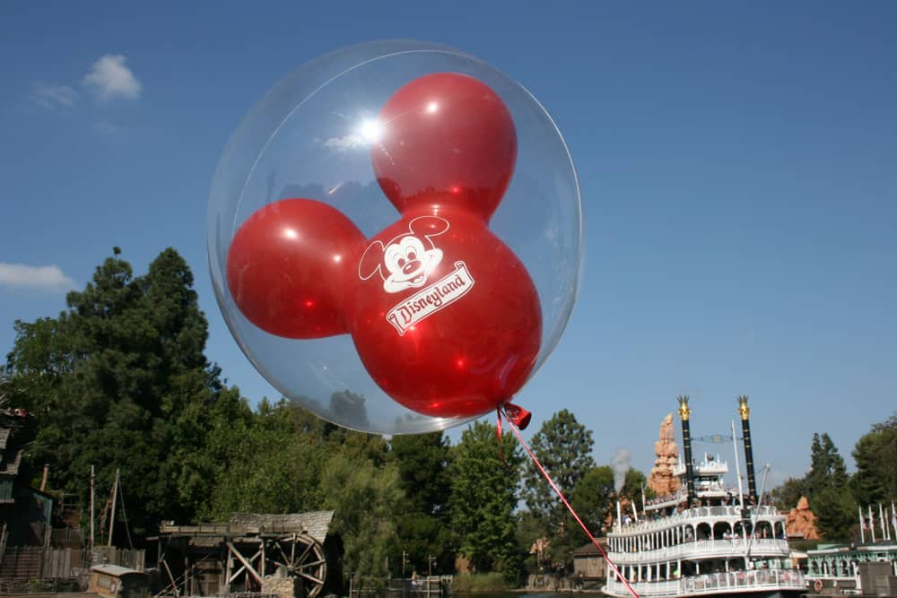 Disneyland Red Balloon with Mark Twain Riverboat on the Rivers of America