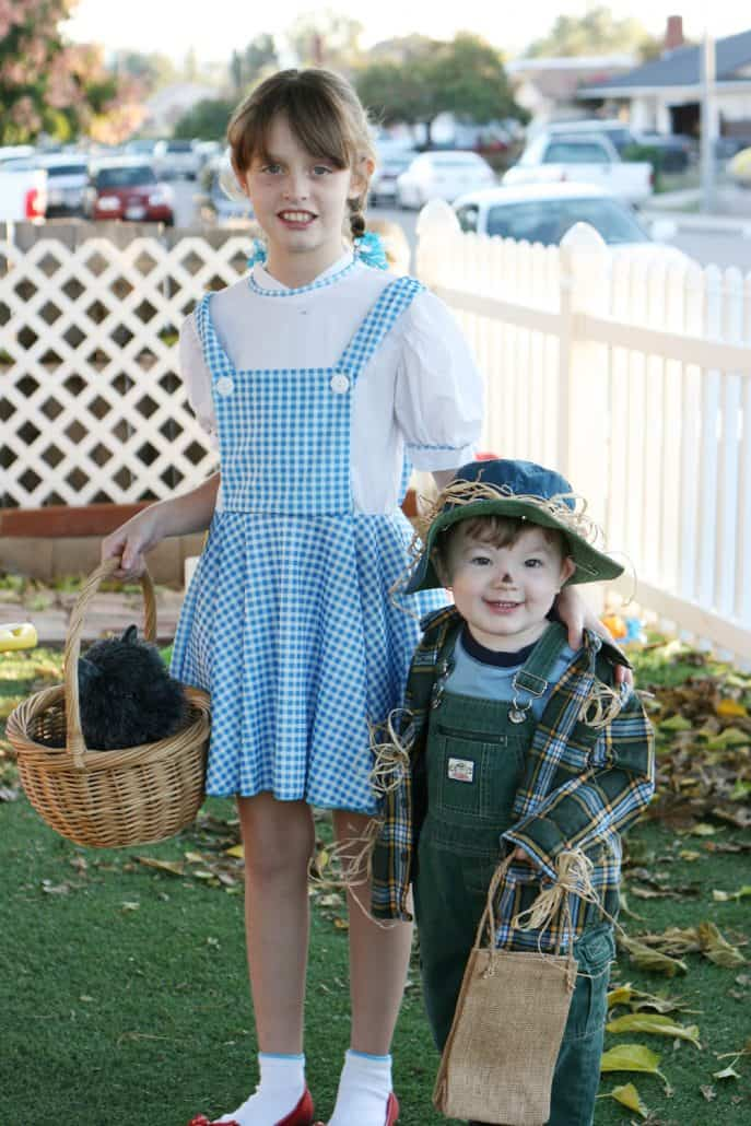 Wizard of Oz Dorothy costume with baby scarecrow for Halloween