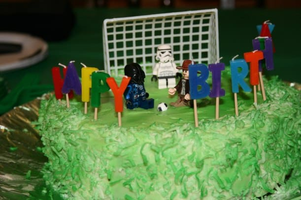 Darth Vader playing soccer with Indiana Jones (and a Stormtrooper goalie!).  Click through for budget birthday ideas.