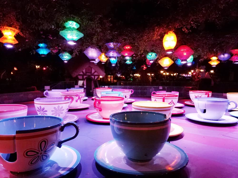 Mad Tea Party tea cups at Disneyland in night