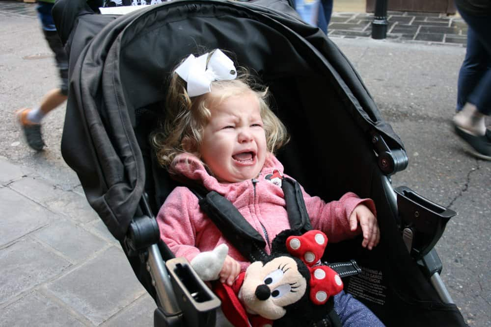 Disneyland crying toddler in a stroller
