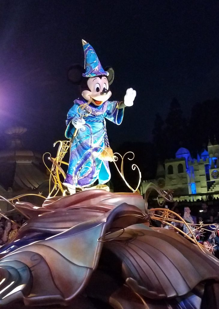 Mickey Mouse in Magic Happens parade at Disneyland