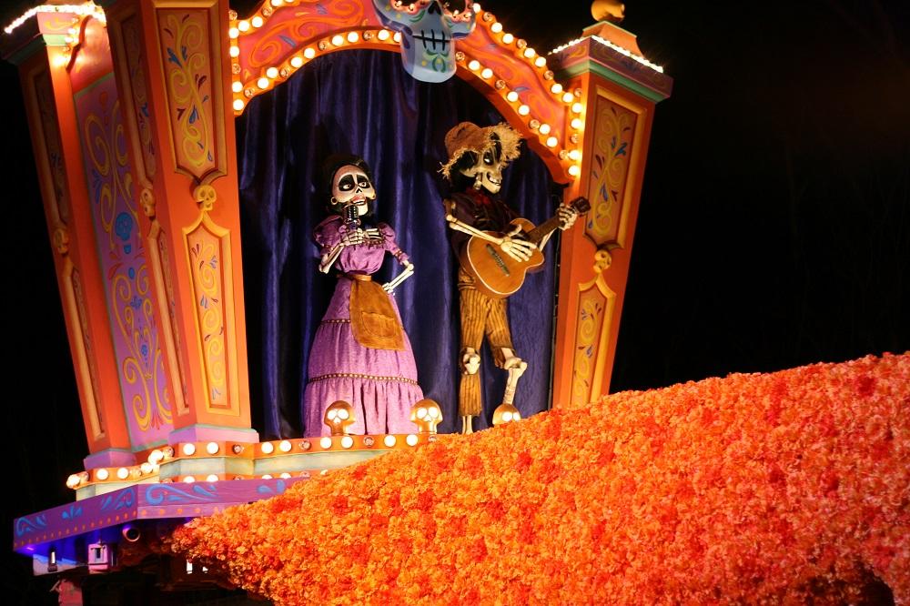 Coco float in the Disneyland Magic Happens parade
