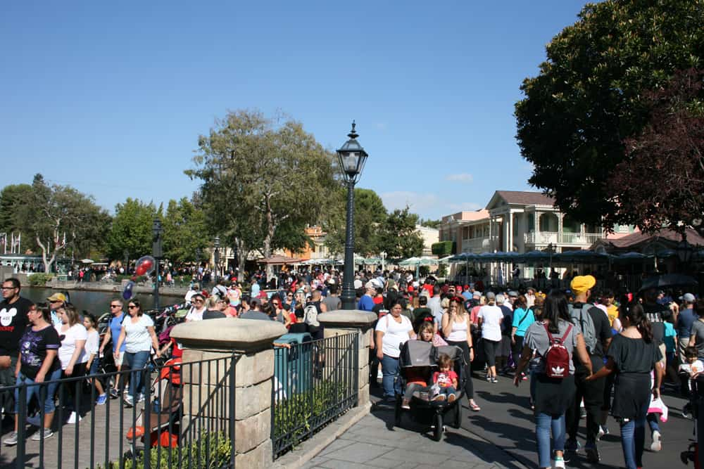 Crowds at Disneyland New Orleans Square
