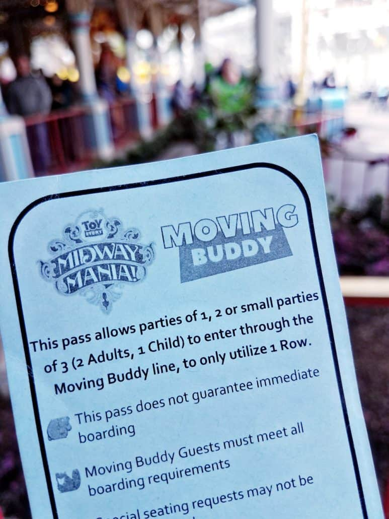 Toy Story Midway Mania Moving Buddy pass at Disney California Adventure park