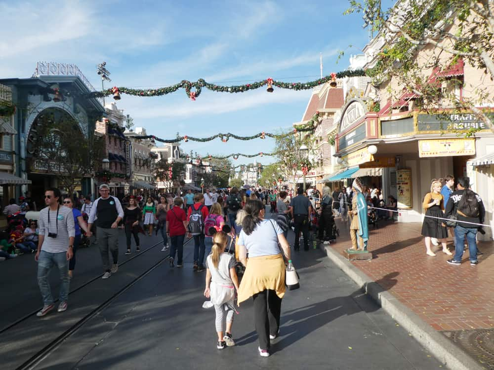 Holiday season at Disneyland crowds on Main Street USA