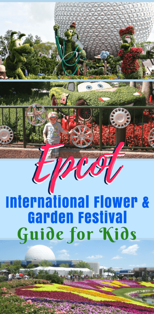 Wondering what kids can do at the Epcot International Flower and Garden Festival? This kid-friendly guide to the Disney World special event explains what there is for kids to do, eat and see! From kid-friendly foods in the Marketplace, Disney character topiaries and interactive playground gardens, there's more for kids to enjoy at Epcot Flower & Garden this year. #Epcot #Disney #WDW | Disney World Vacation | Disney with Kids | Disney Travel | Disney Tips | Travel with Kids