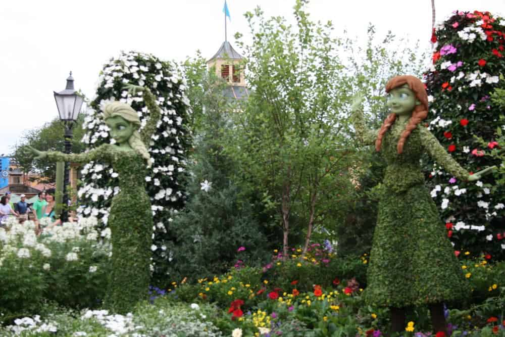 Anna and Elsa Frozen topiaries at Epcot flower and garden