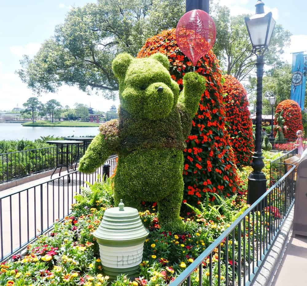 Winnie the Pooh topiary at Epcot flower and garden