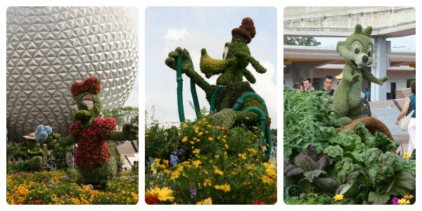 Collage of topiaries at Epcot flower and garden