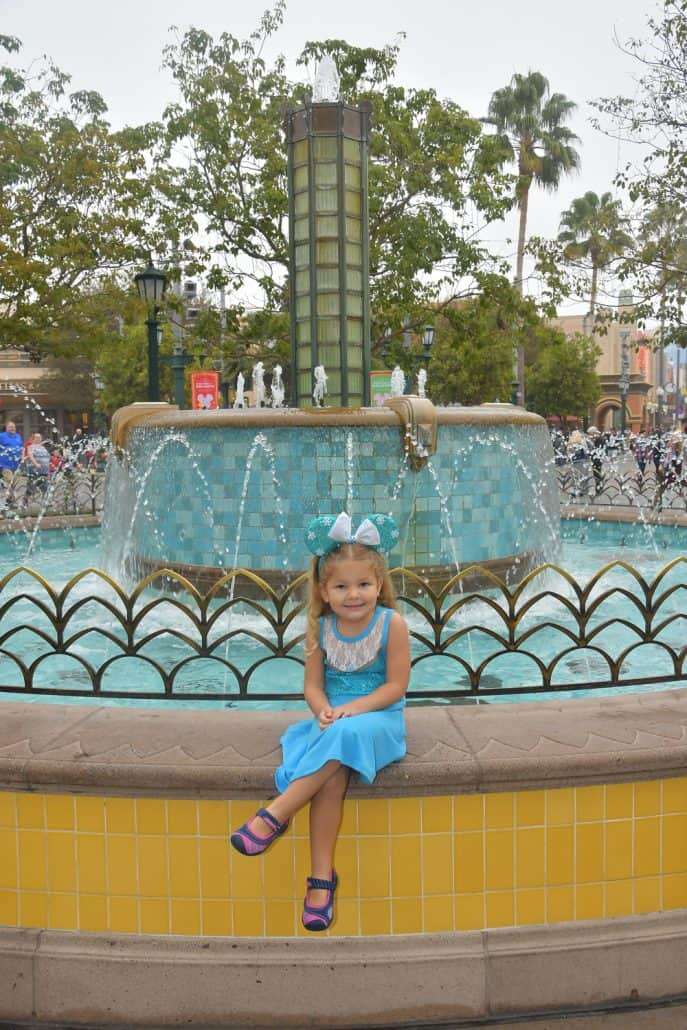 Little girl dressed like Elsa at California Adventure