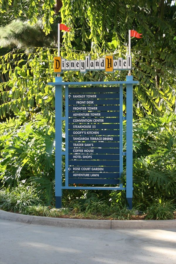 Directional signage at Disneyland hotel