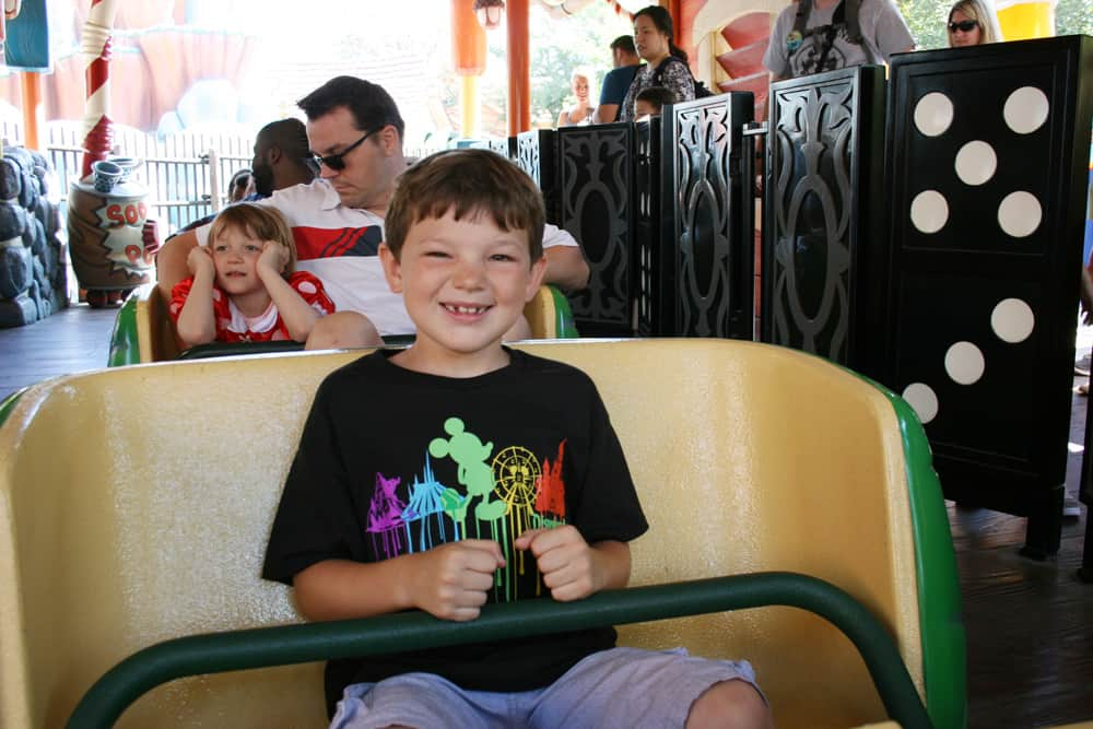 Gadget's Go Coaster seats with young boy