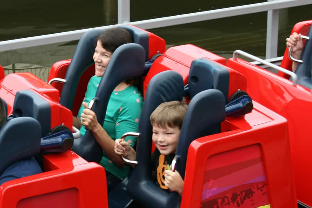Incredicoaster seats with mom and son