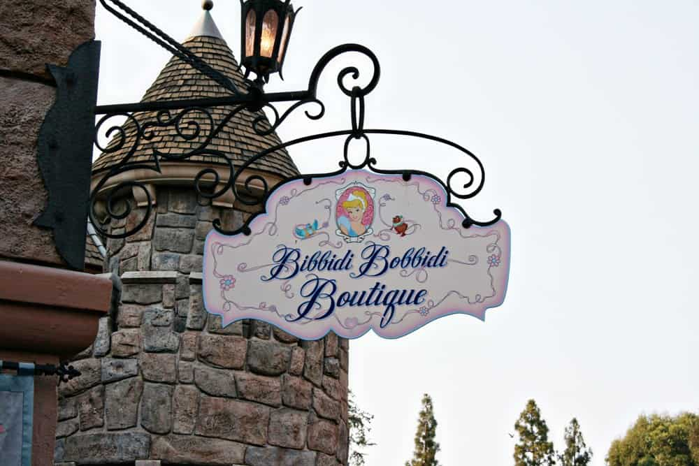 Disneyland Bibbidi Bobbidi Boutique sign