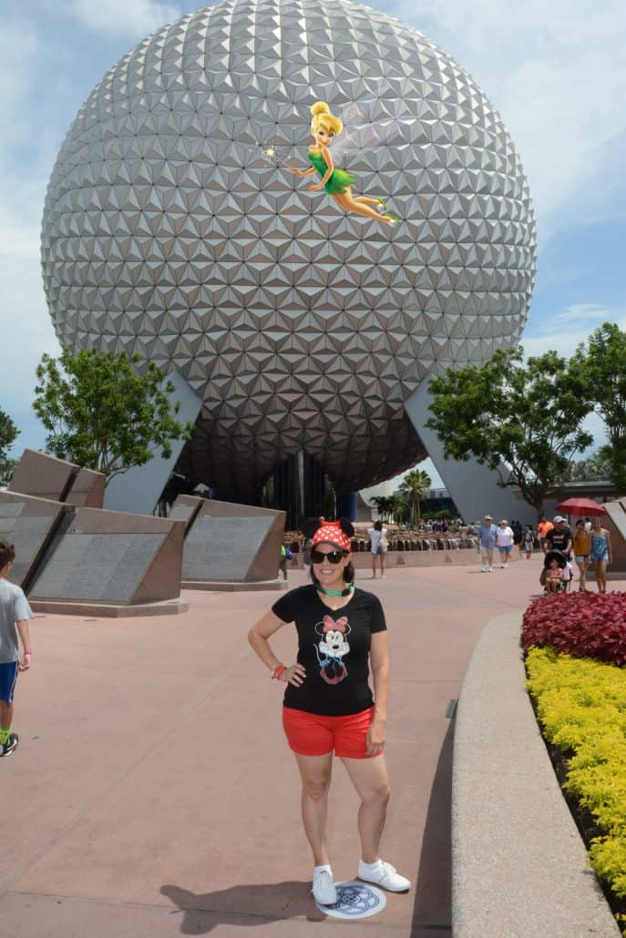 Epcot Spaceship Earth with a Tinker Bell Magic Shot