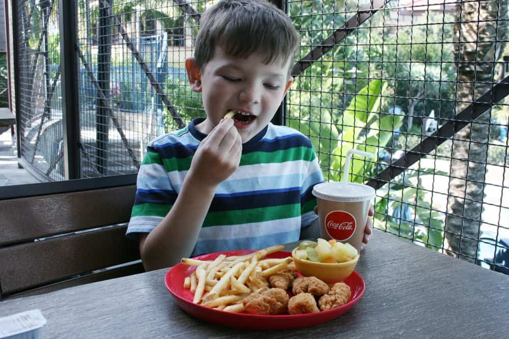 Child eating french fries, chicken nuggets and fresh fruit at Tangaroa Terrace at the Disneyland Hotel.