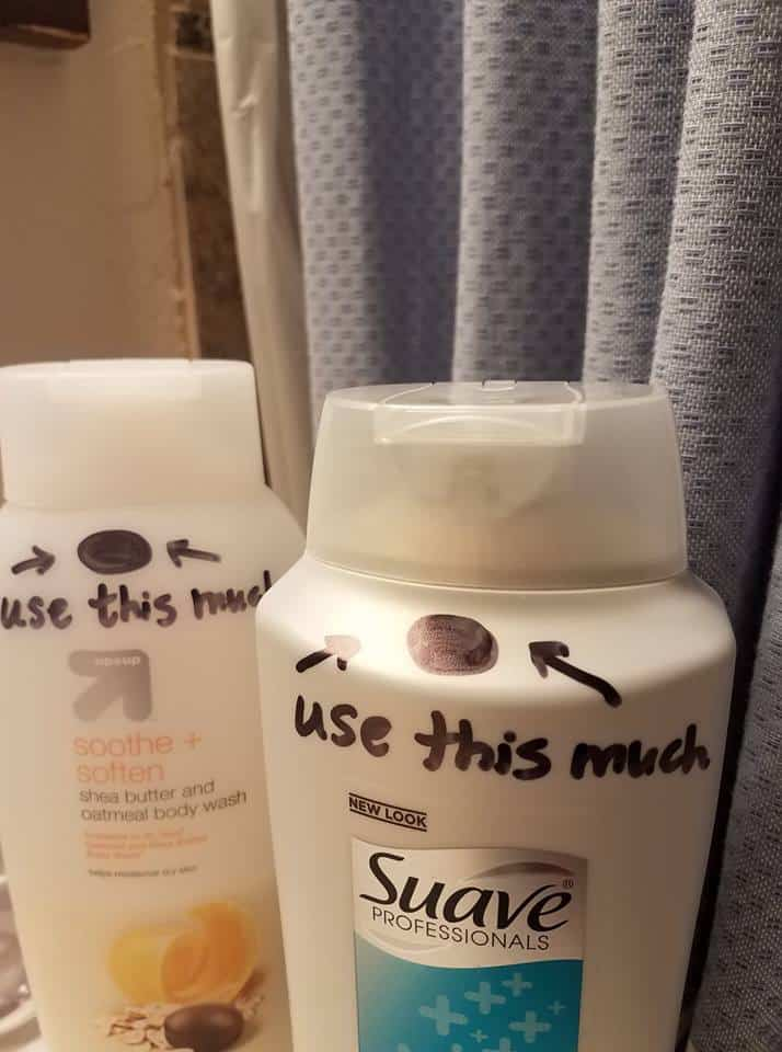 Mom made dots on soap bottles so tweens won't overuse