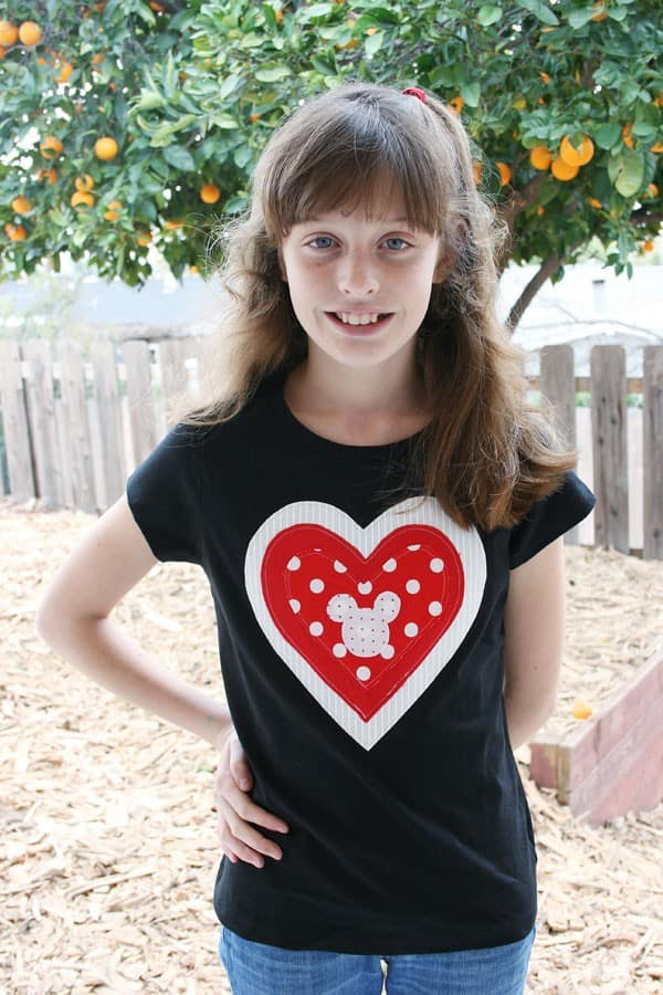 Girl wearing Valentine's Day DIY Shirt with Hidden Mickey