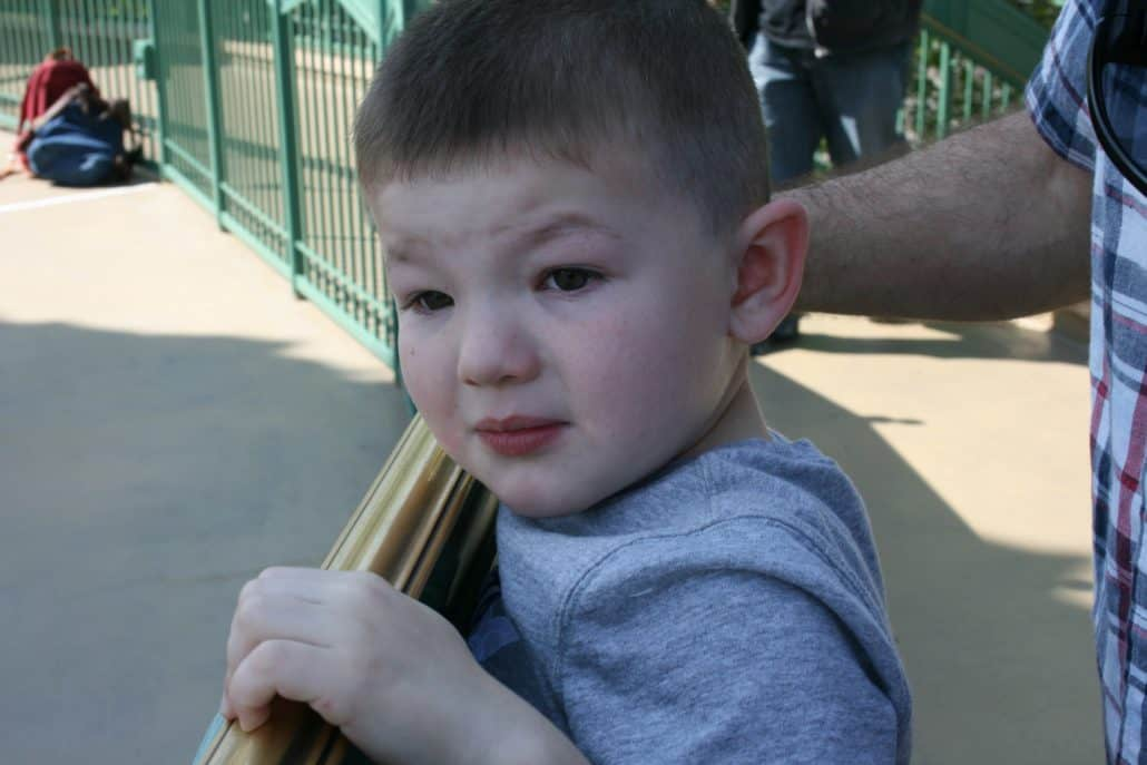 Scared little boy at Disneyland