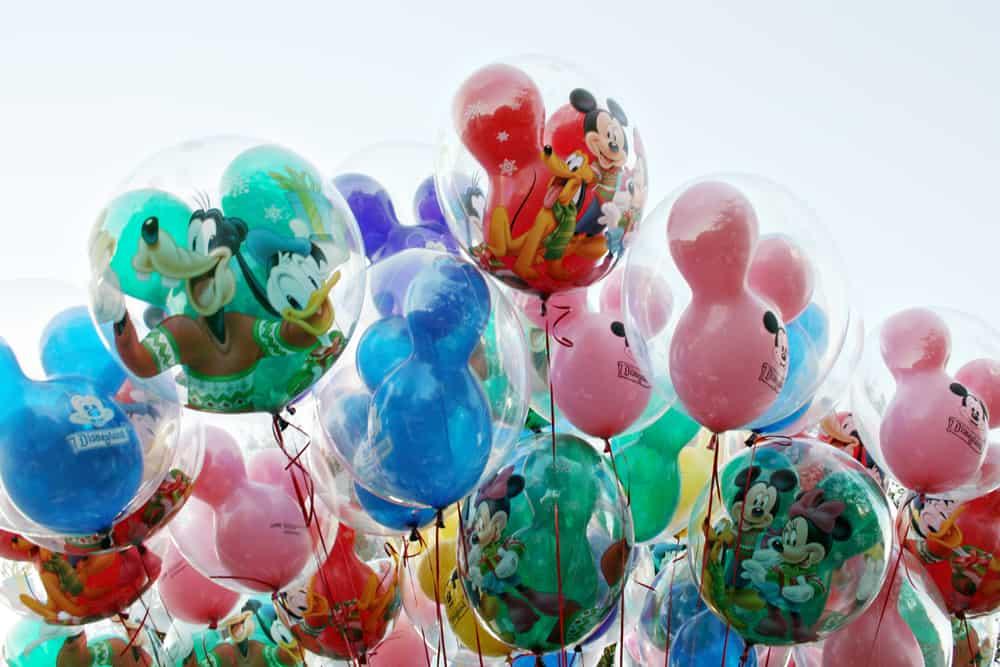 Holiday themed balloons at Disneyland