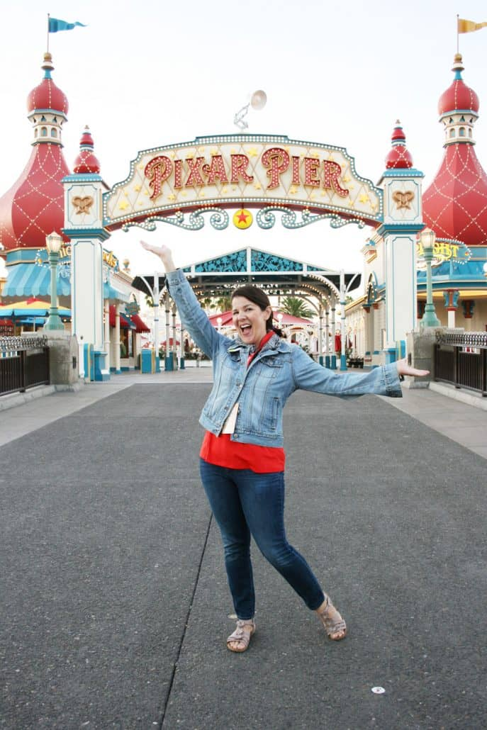 Woman at Pixar Pier in Disney California Adventure