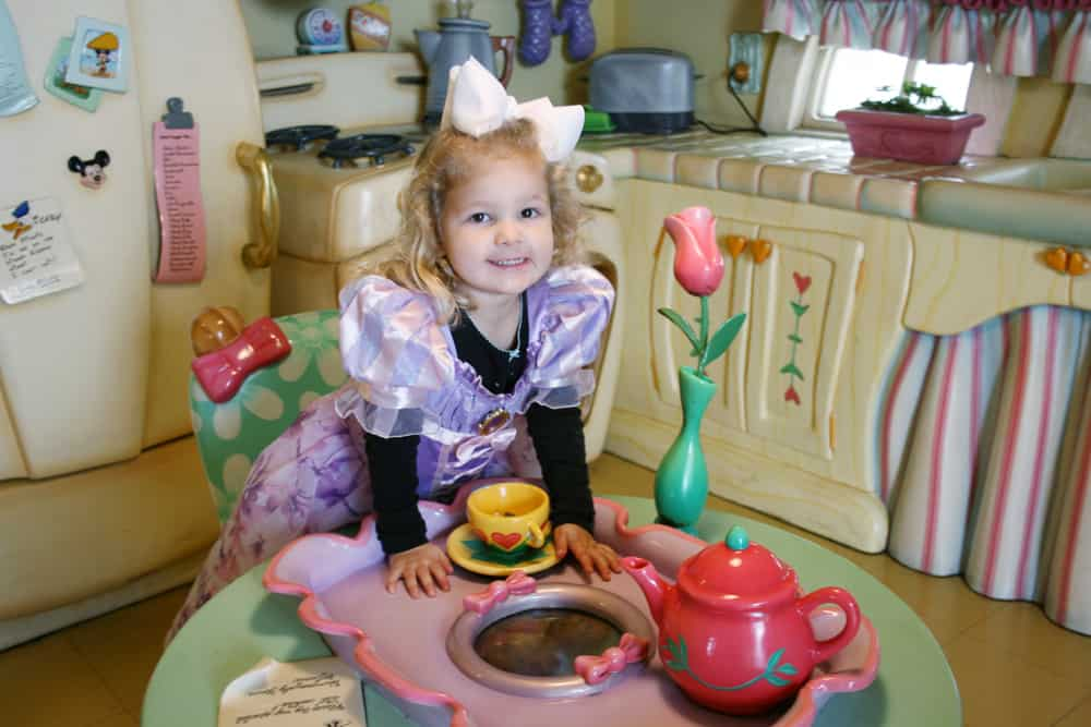 Little girl inside Minnie's House at Disneyland's Toontown