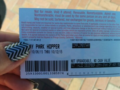 Back side of a Disneyland park ticket