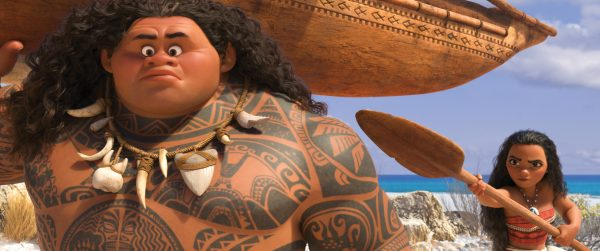 "MOANA'S MISSION — Maui (voice of Dwayne Johnson) may be a demigod—half god, half mortal, all awesome—but he's no match for Moana (voice of Auli'i Cravalho), who's determined to sail out on a daring mission to save her people. Moana's first challenge is convincing Maui to join her. Directed by Ron Clements and John Musker, produced by Osnat Shurer, and featuring music by Lin-Manuel Miranda, Mark Mancina and Opetaia Foa'i, ""Moana"" sails into U.S. theaters on Nov. 23, 2016. ©2016 Disney. All Rights Reserved."