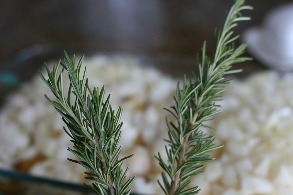 Sprigs of rosemary to use in the soup
