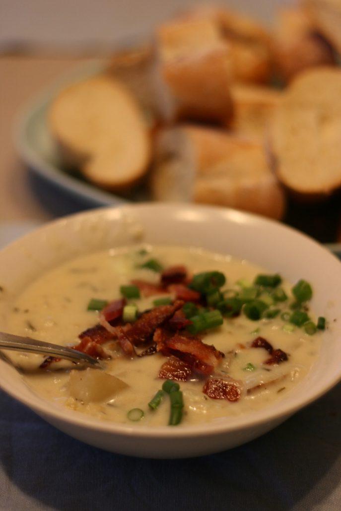 bowl of rosemary potato soup