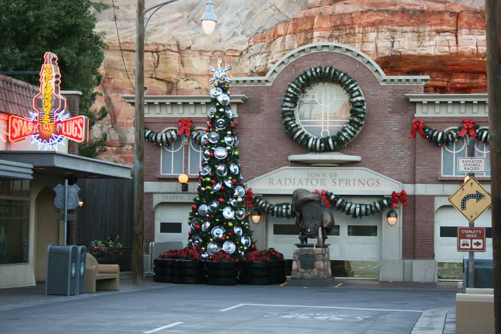 Cars Land holiday decorations in Radiator Springs