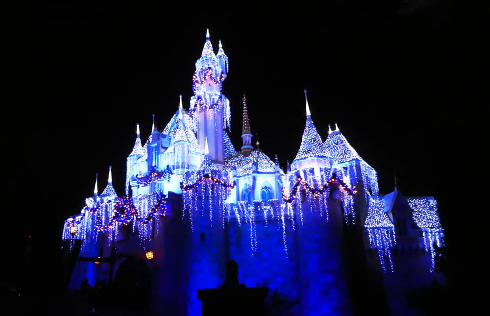 Sleeping Beauty's Winter Castle at night during Christmas at Disneyland