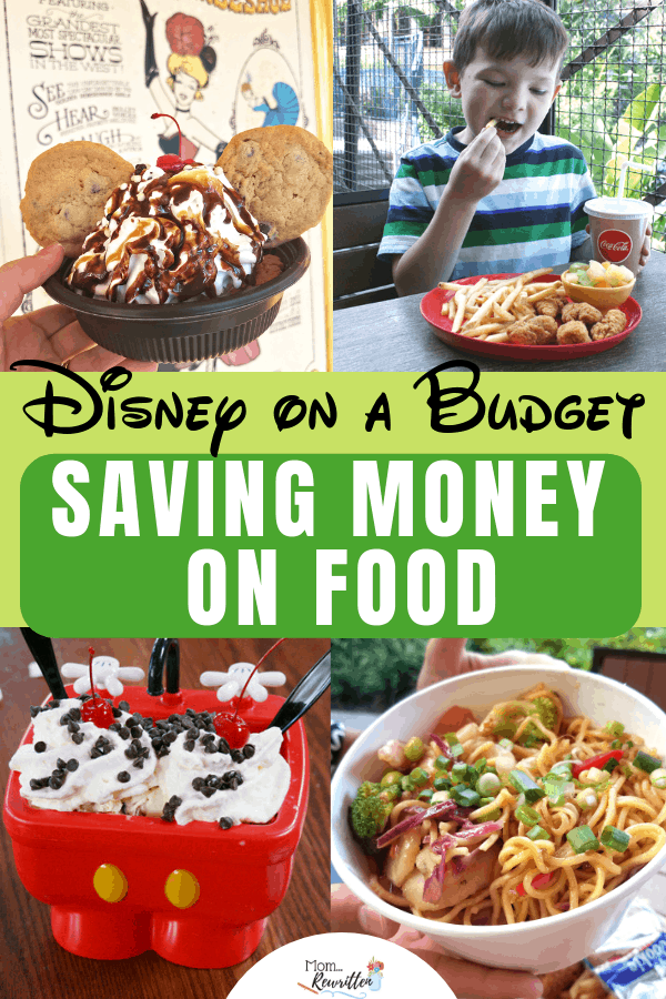 Buying food at Disneyland and Walt Disney World can take a bite out of your vacation budget! Whether you're doing Disney on a budget or just want to save money at Disney, these practical tips can help you save a LOT when dining in the parks. Save money on food at Disney by following these helpful ideas at special events, on the kid's menu, while character dining and more! #Disney #DisneyWorld #Disneyland #MomRewritten | Travel with Kids | Family Travel | Disney Travel
