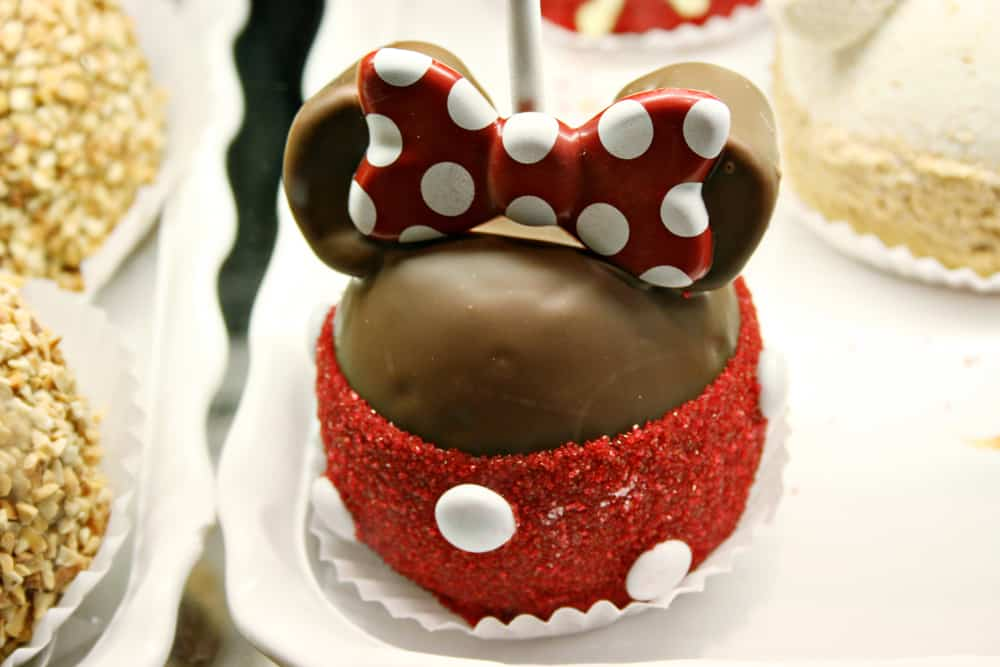 Minnie Mouse candied apple at Disneyland