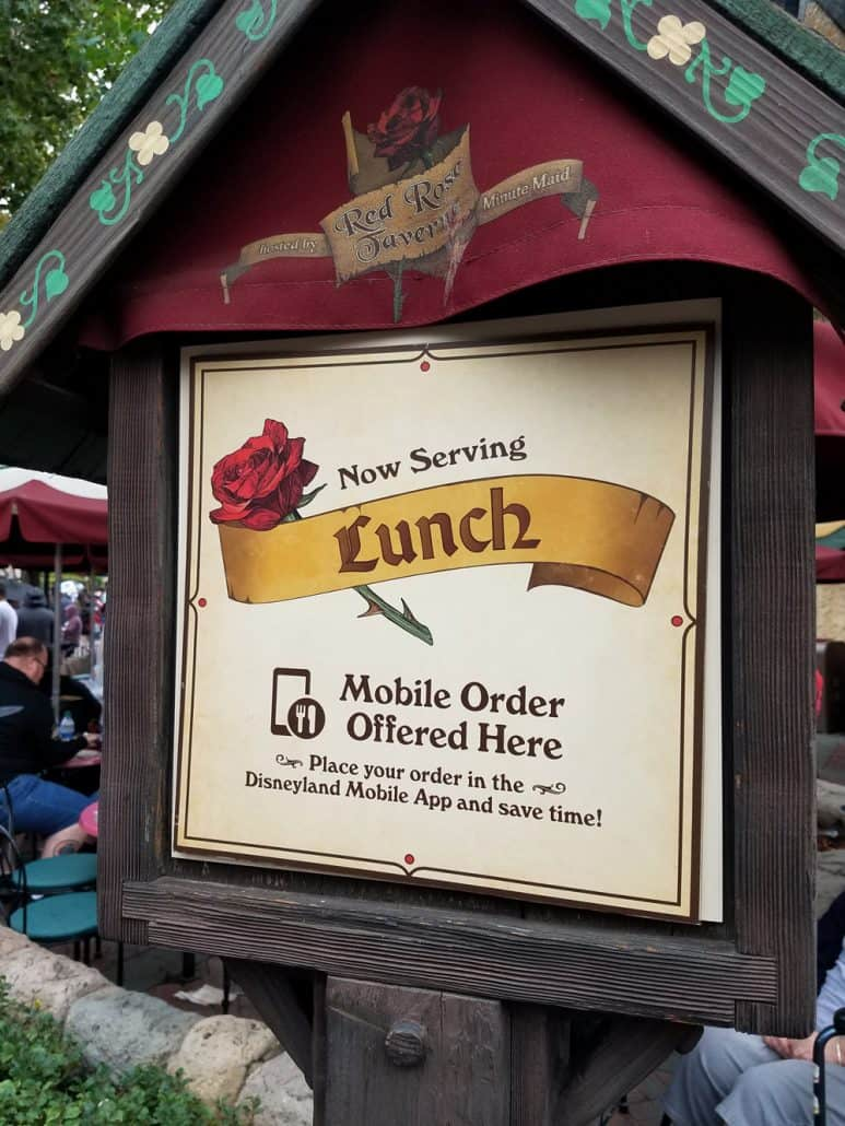 Red Rose Taverne restaurant at Disneyland offers mobile ordering.