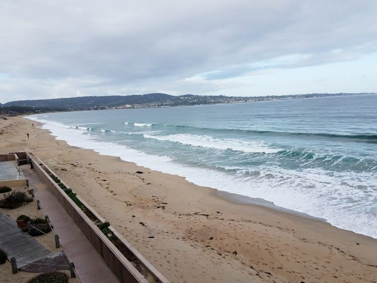 Empty beach and ocean in Monterey California