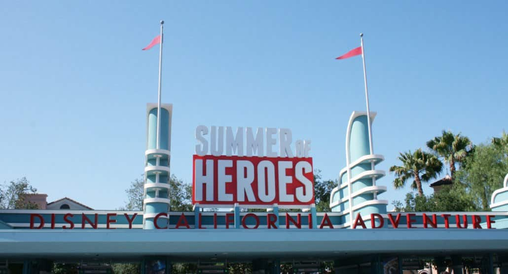 summer of heroes sign at disney california adventure park