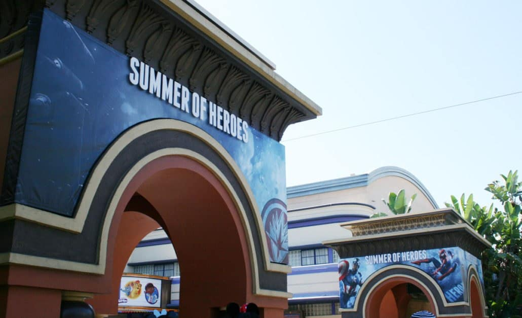 summer of heroes signage at california adventure