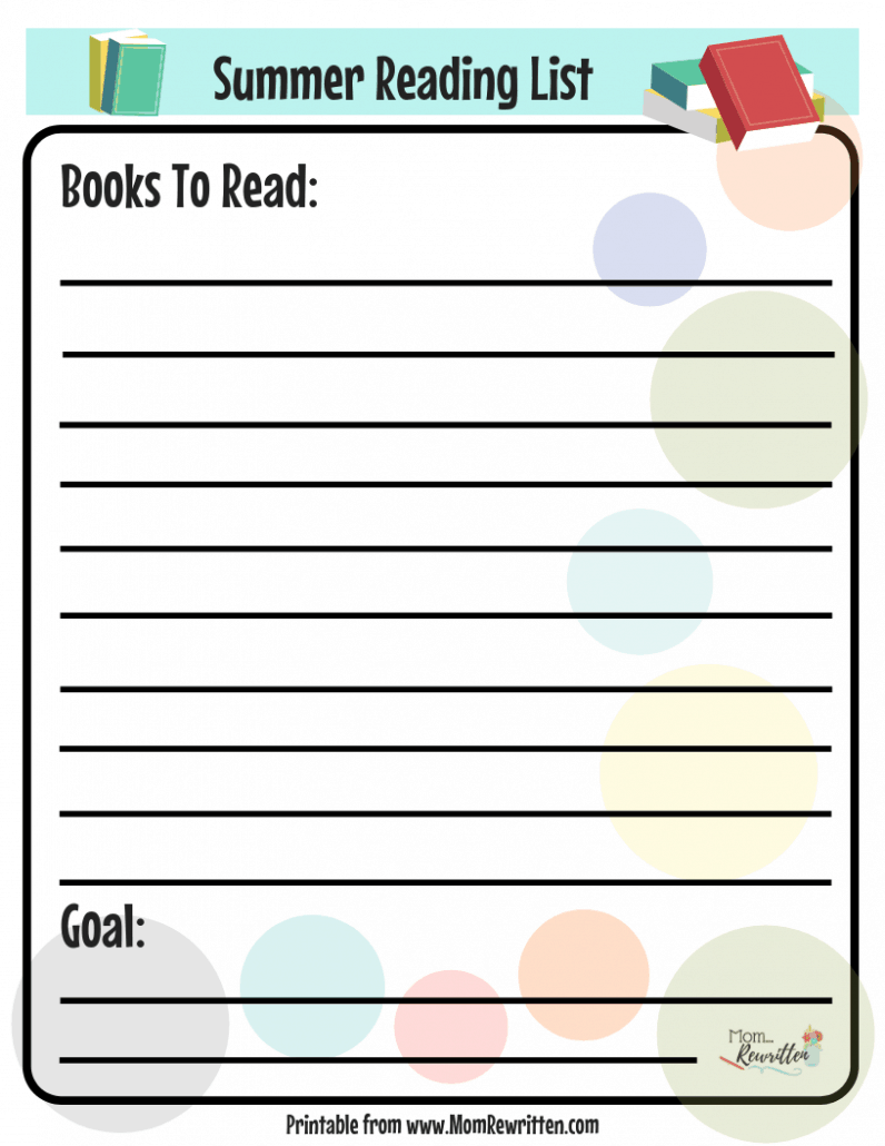 Free summer reading list printable