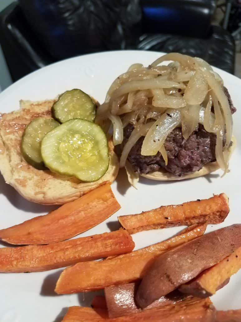 Chipotle Smash Burger with Pickles and Sweet Potato Wedges from Dinnerly