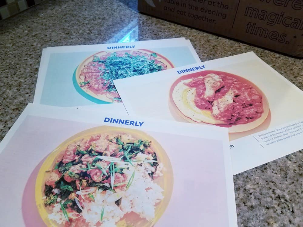 Printout of Dinnerly recipe cards