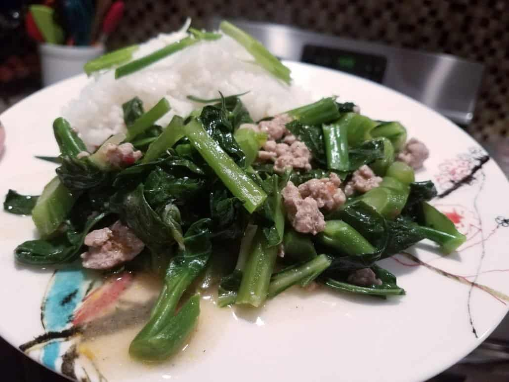 Spicy Pork and Chinese Broccoli from Dinnerly