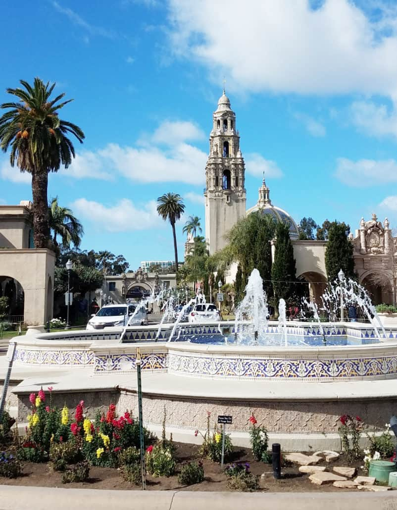 Balboa Park fountain in San Diego