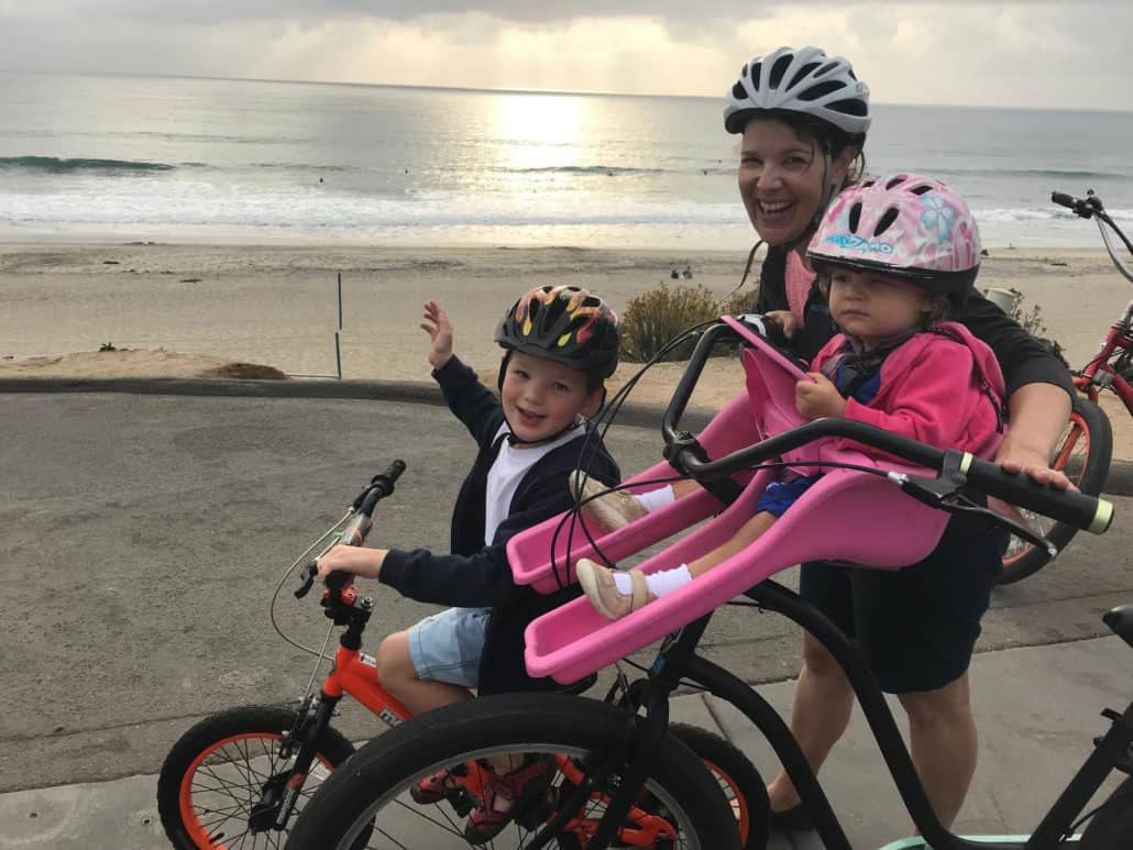 Bicycling at the beach in San Diego Carlsbad
